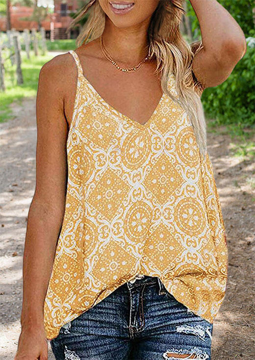 Tank Tops Geometric Printed Camisole without Necklace in Yellow. Size: S,M,L,XL
