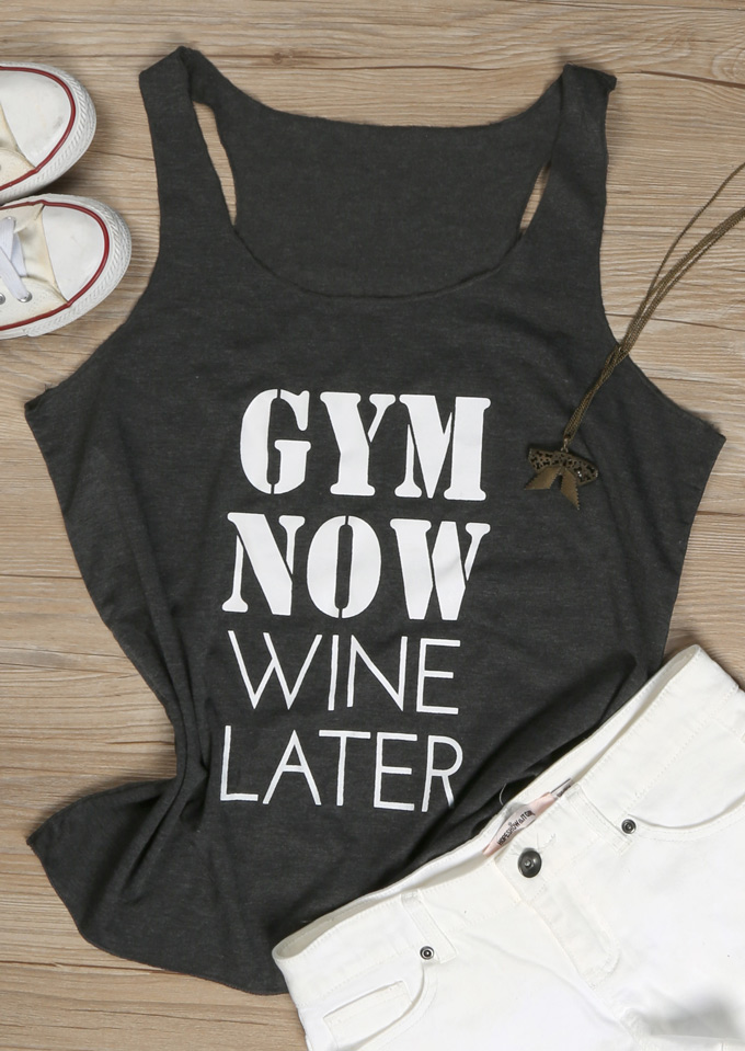 Tank Tops Gym Now Wine Later Tank in Dark Grey. Size: S,M,L,XL