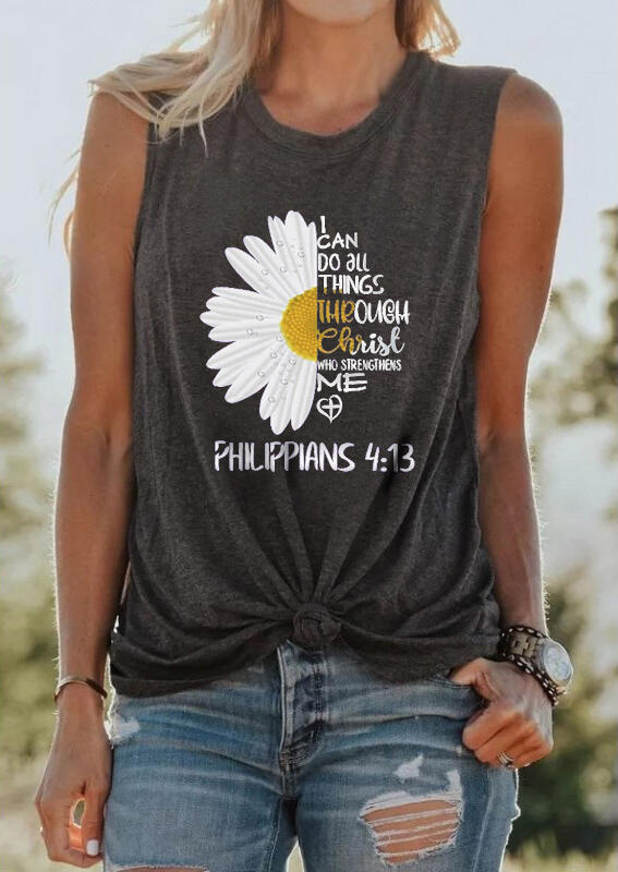 Tank Tops I Can Do All Things Through Christ Daisy Tank in Dark Grey. Size: S,M,L,XL