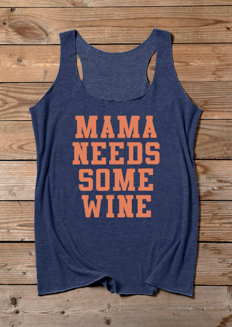 Tank Tops Mama Needs Some Wine Tank in Navy Blue. Size: S,L,XL