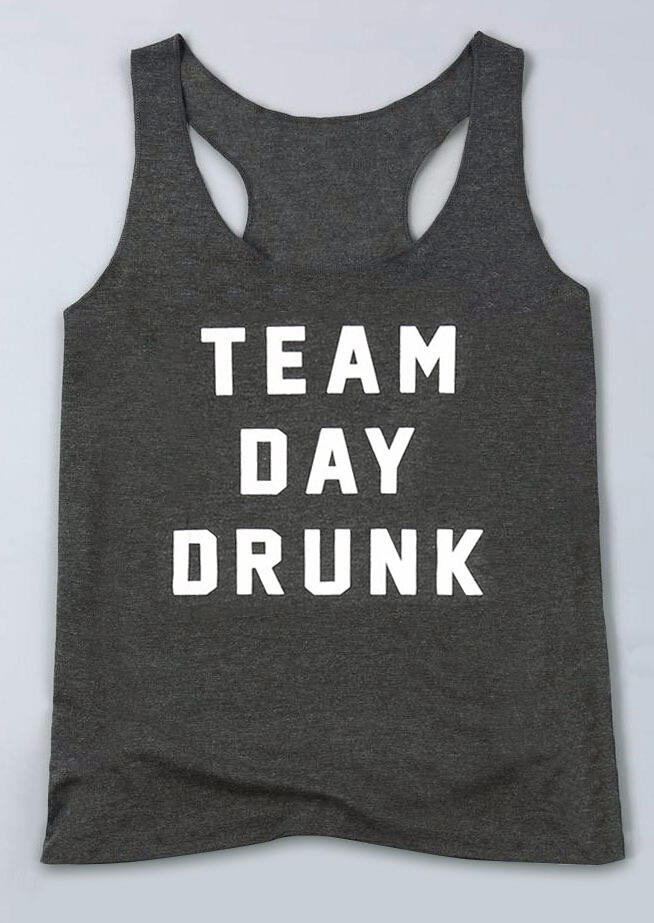 Tank Tops Team Day Drunk Tank in Dark Grey. Size: S