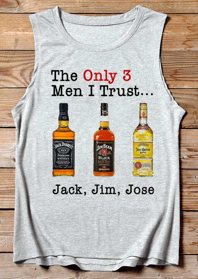 Tank Tops The Only 3 Men I Trust O-Neck Tank in Gray. Size: S,M,L,XL