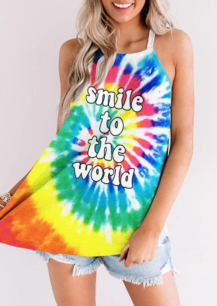 Tank Tops Tie Dye Smile To The World Camisole in Multicolor. Size: S,M,L,XL