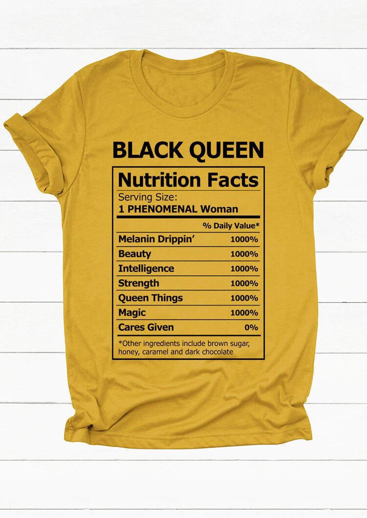 Tees T-shirts Black Queen Nutrition Facts T-Shirt Tee in Yellow. Size: S,M,L,XL
