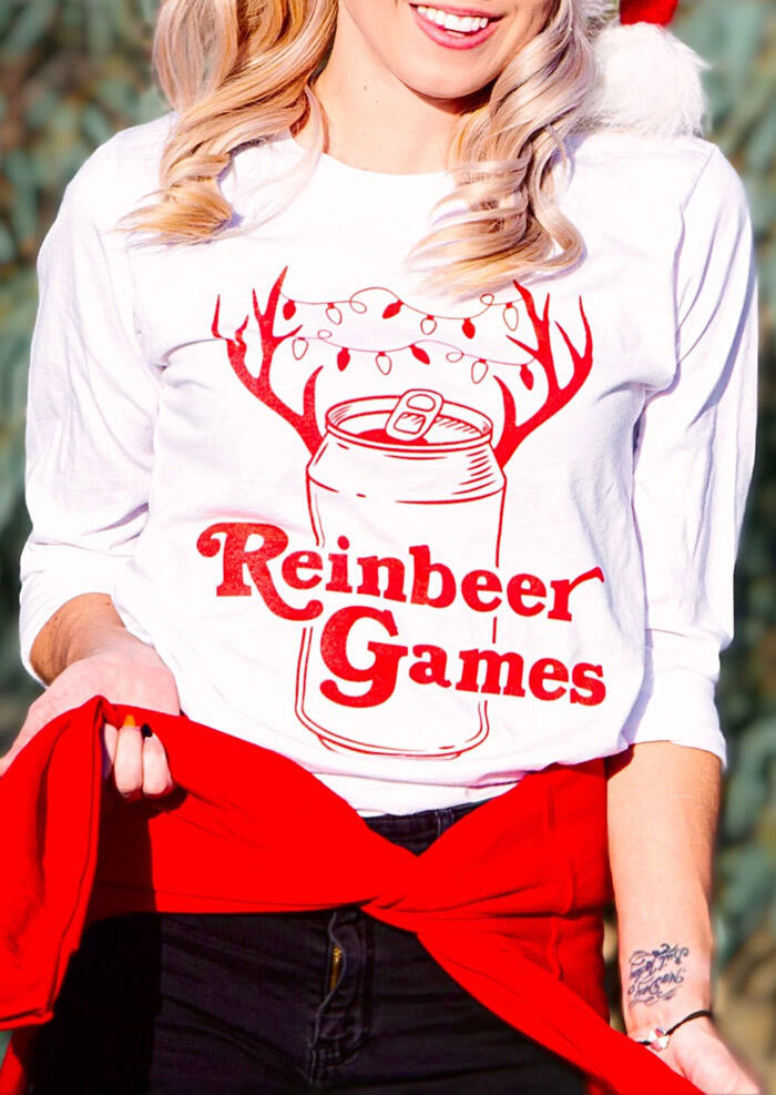 Tees T-shirts Christmas Reinbeer Games O-Neck T-Shirt Tee in White. Size: S,M,L