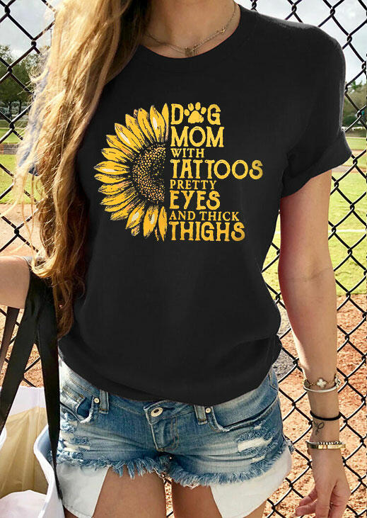 Tees T-shirts Dog Mom Sunflower T-Shirt Tee without Necklace in Black. Size: S,M,L