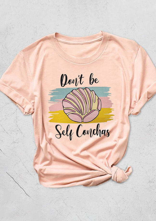 Tees T-shirts Don't Be Self Conchas T-Shirt Tee in Pink. Size: S,M,L,XL