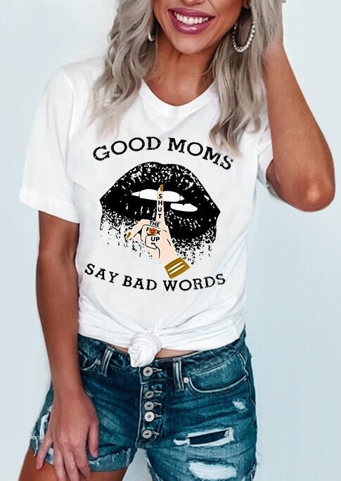 Tees T-shirts Good Moms Say Bad Words Lips T-Shirt Tee in White. Size: S,M,L,XL