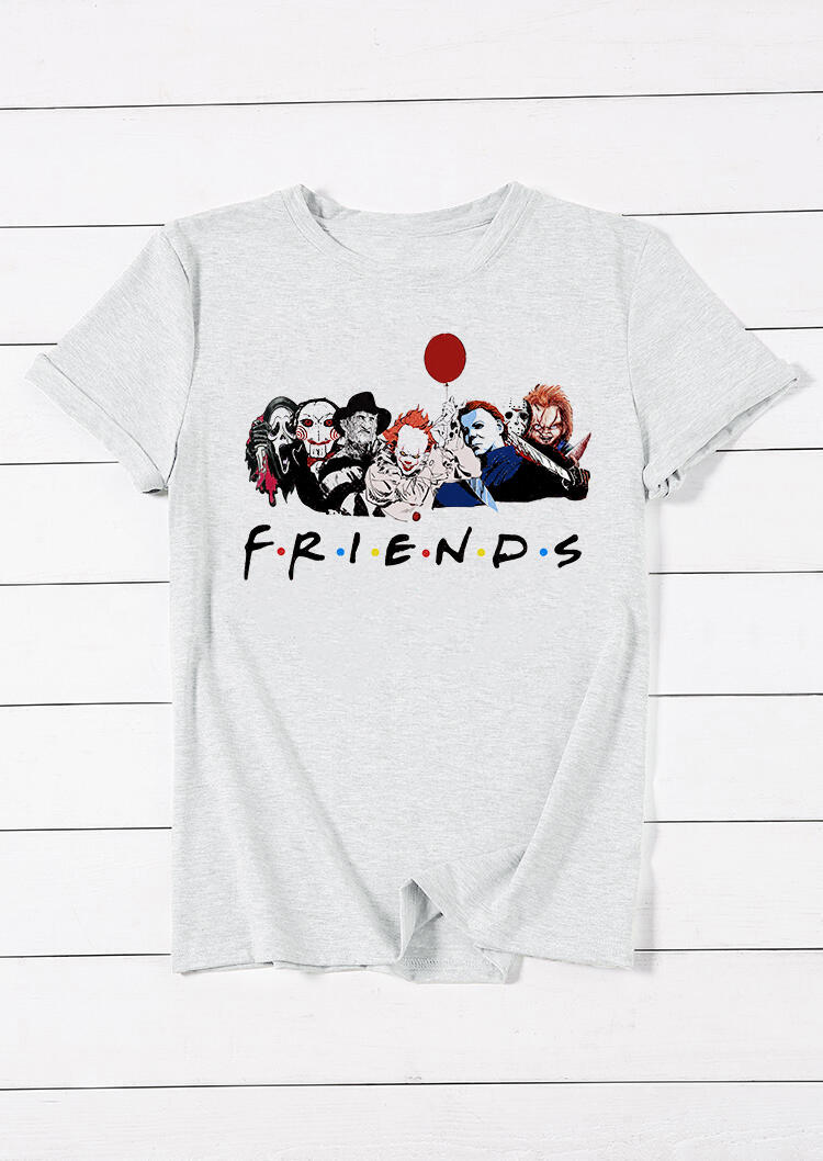 Tees T-shirts Halloween Horror Movie Friends T-Shirt Tee in Gray. Size: S,M,L,XL
