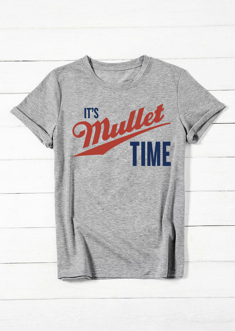 Tees T-shirts It's Mullet Time T-Shirt Tee in Gray. Size: S,M,L,XL