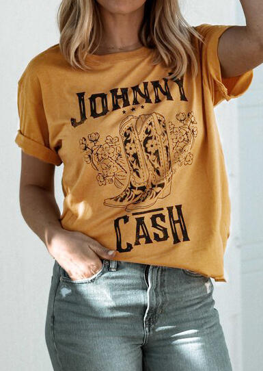 Tees T-shirts Johnny Cash O-Neck T-Shirt Tee in Yellow. Size: S,M,L,XL