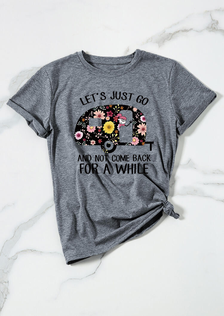 Tees T-shirts Let's Just Go Camping Floral T-Shirt Tee in Gray. Size: S,M,L,XL