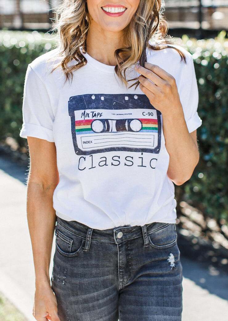 Tees T-shirts Mix Tape C-90 Classic T-Shirt Tee in White. Size: S,L,XL