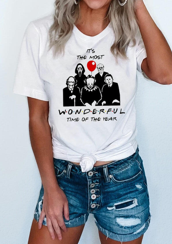 Tees T-shirts Presale - Horror Movie The Most Wonderful Time T-Shirt Tee in White. Size: S,M,L,XL
