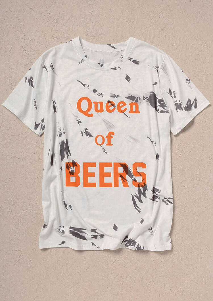 Tees T-shirts Queen Of Beers T-Shirt Tee in White. Size: S,M,L,XL