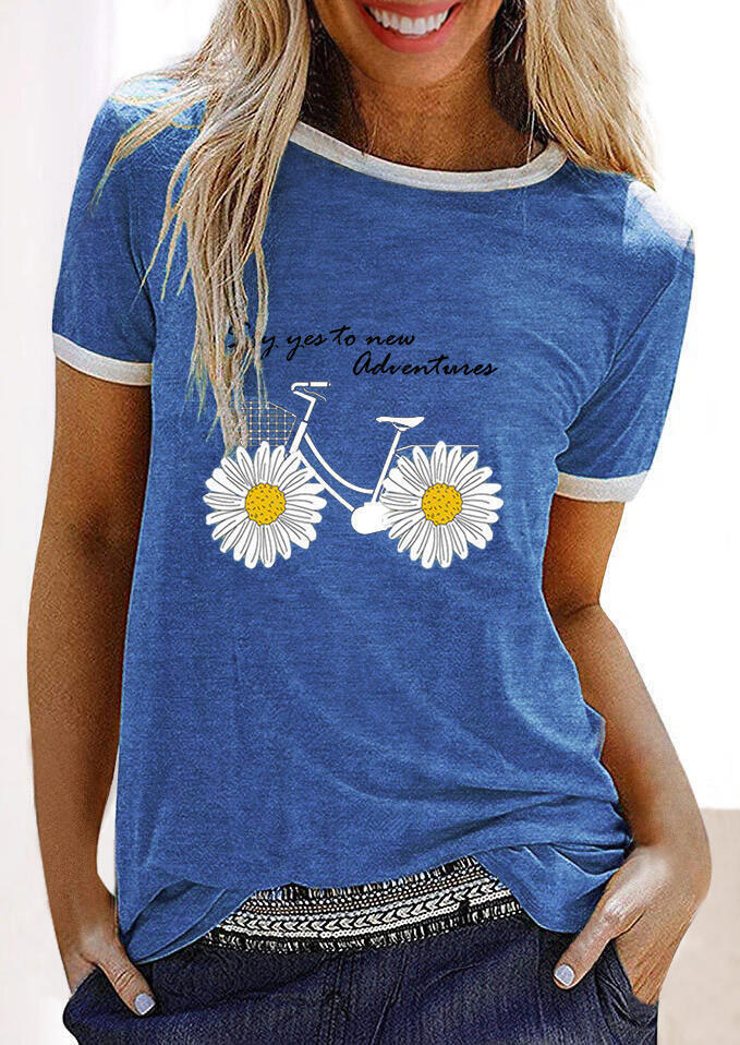 Tees T-shirts Say Yes To New Adventures Daisy Bike T-Shirt Tee in Blue. Size: S,M,L,XL