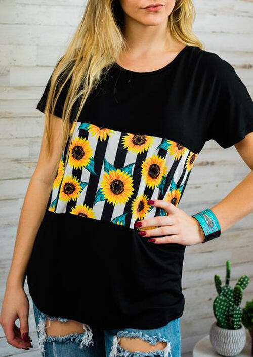 Tees T-shirts Sunflower Striped Splicing T-Shirt Tee in Black. Size: S