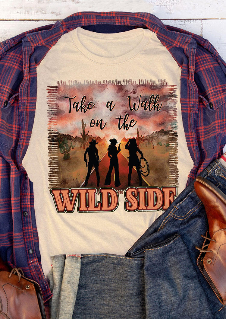 Tees T-shirts Take A Walk On The Wild Side T-Shirt Tee in Light Yellow. Size: M