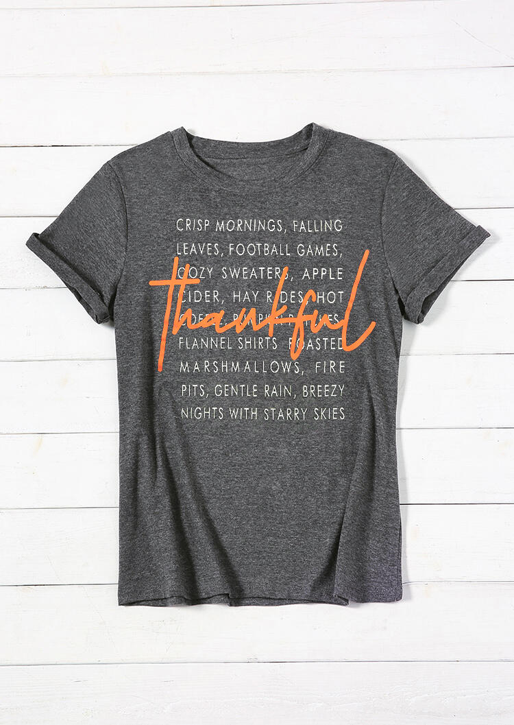 Tees T-shirts Thankful Football Games T-Shirt Tee in Gray. Size: S,M,L,XL