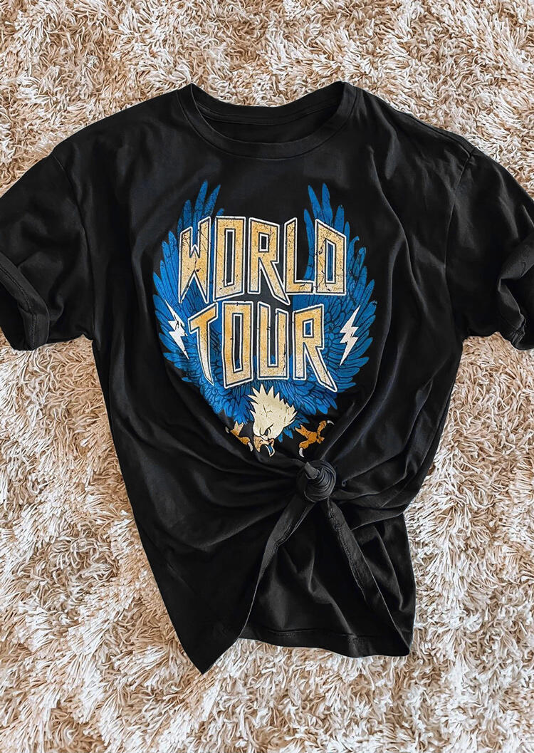 Tees T-shirts World Tour Eagle O-Neck T-Shirt Tee in Black. Size: M,L,XL