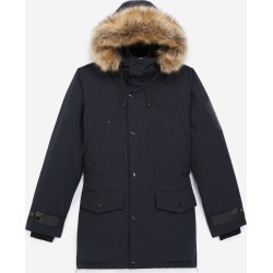 The Kooples - Long navy blue parka with leather detail - MEN