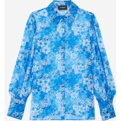 The Kooples - Long-sleeved blue shirt with floral motif - WOMEN