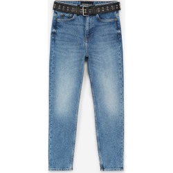 The Kooples - Slim-fit blue jeans with leather-effect belt - WOMEN