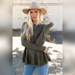 Three Bird Nest Women's Bohemian Clothing Every Day Essential Top - Olive Green   Polyester/Spandex/Cotton