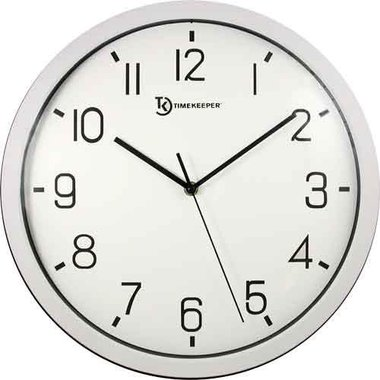 """Timekeeper 668031 14"""" Easy-To-Read Wall Clock - White"""