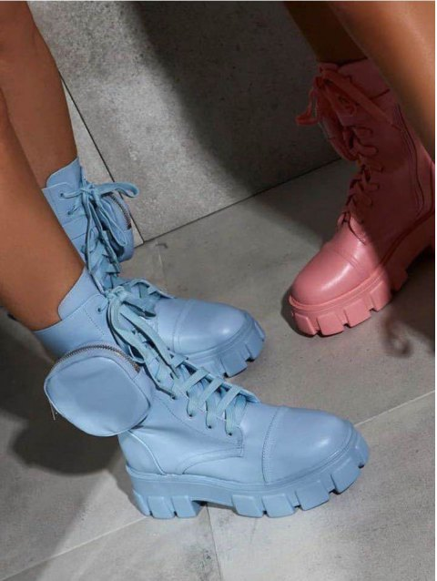 Tiny Bag Chunky Heel Lack Up Ankle Boots