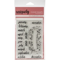 "Uniquely Creative 4""X6"" Clear Stamps-Scripty Months"