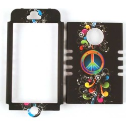 Unlimited Cellular Rocker Snap-On Case for Apple iPhone 5 (Peace Symbol and Music Notes on Black)