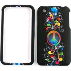 Unlimited Cellular Snap-On Case for Apple iPhone 3G (Rainbow Peace Symbol and Music Notes on Black)