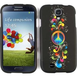 Unlimited Cellular Snap-On Case for Samsung Galaxy S4 (Rainbow Peace Symbol and Music Notes on Black)