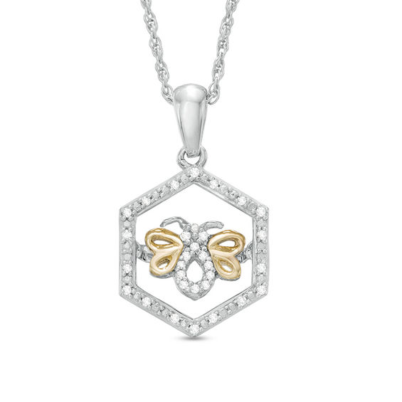 Unstoppable Love™ Diamond Accent Hexagon Frame Bee Pendant in Sterling