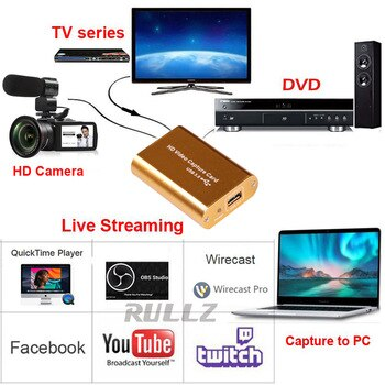 USB 3.0 Video Capture Card HDMI Grabber for PS4 XBOX Phone Game Camera Video Recording Box for Facebook Youtube Live Streaming