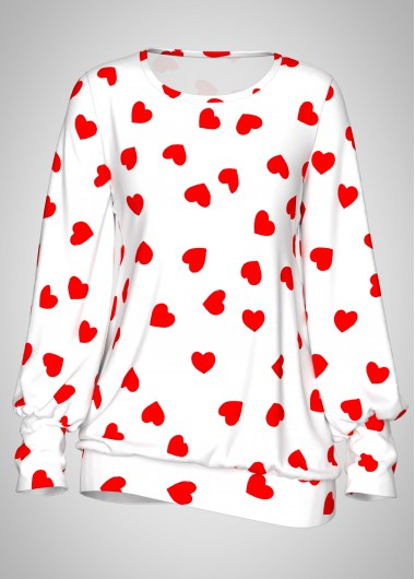 Valentines day Heart Print Blouson Sleeve White Cute Top - S