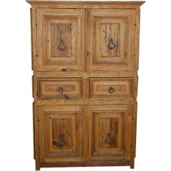 Vintage Natural Wood Indonesian Armoire