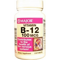 Vitamin Supplement Major Vitamin B12 100 mcg Strength Tablet 130 per Bottle 130 Tabs by Major Pharmaceuticals