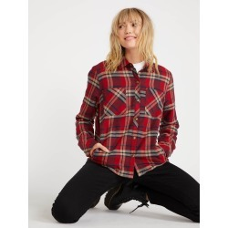 Volcom Plaid About You Long Sleeve - Deep Red - Deep Red - XS