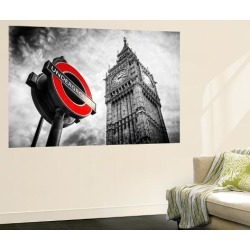 Wall Mural: Wall Mural - Westminster Underground Sign - Subway Station Sign - Big Ben - City of London by Philippe Hugonnard: 72x48in