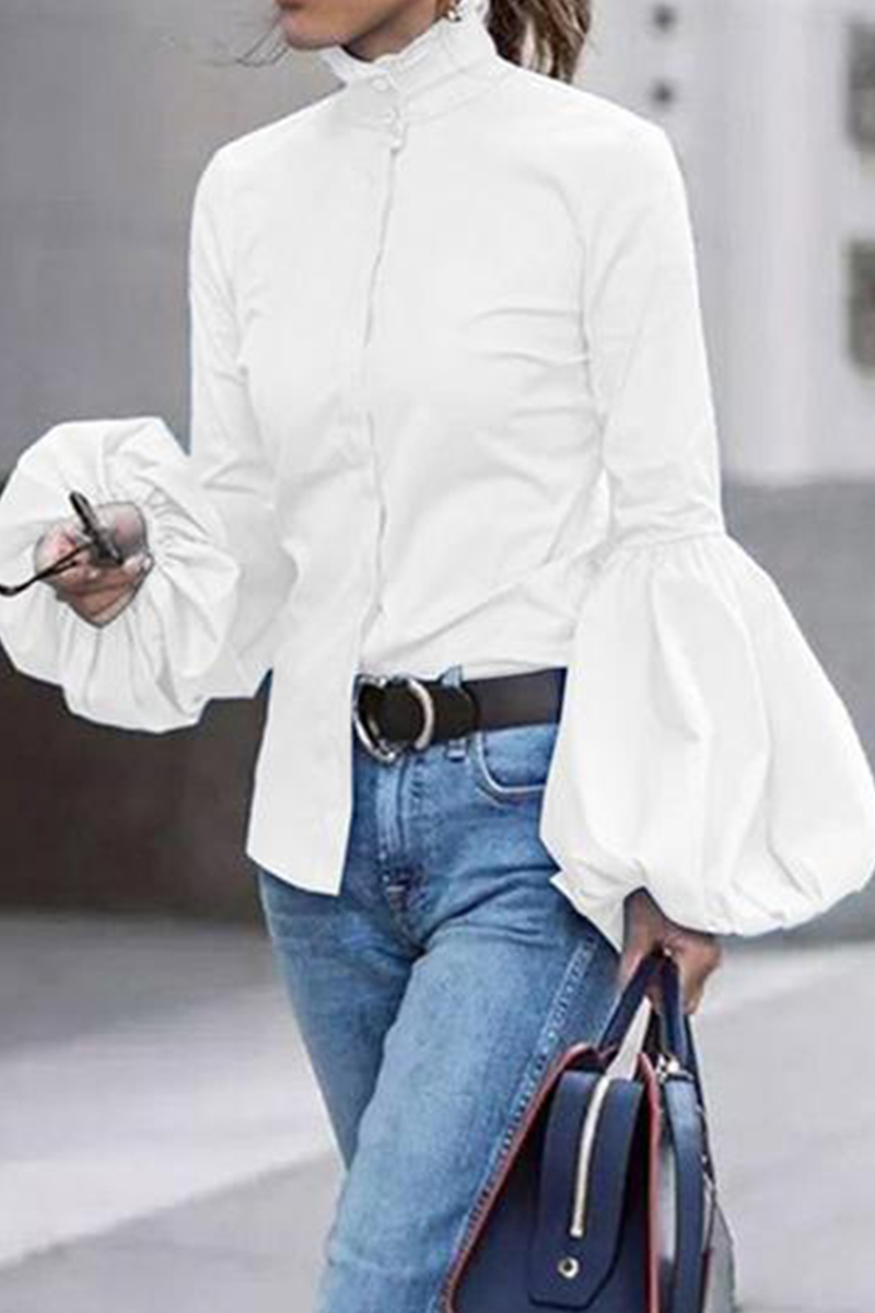 White Fashion Bishop Sleeve Solid Tops