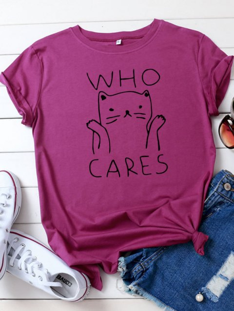Who Cares Cat Graphic Short Sleeve Tee