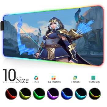 Wild rift league of legends ashe RGB Mouse Pad Black Gamer Accessories Large LED MousePad Gaming PC Desk Play Mat with Backlit
