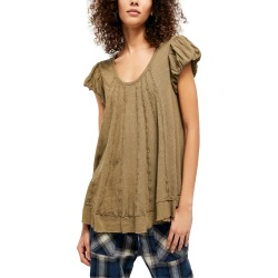 Women's Free People New Star Distressed Stripe Top, Size X-Small - Green