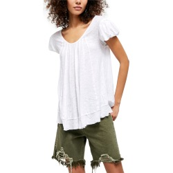 Women's Free People New Star Distressed Stripe Top, Size X-Small - White