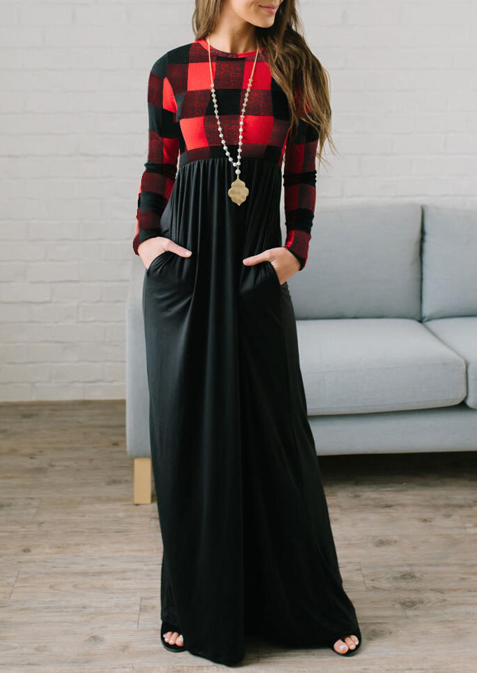 Women's Red Black Plaid Long Sleeves and Red Plaid Top Spliced Black Bottom Color Block Maxi Dress with Pockets in Red. Size: 2XL,3XL