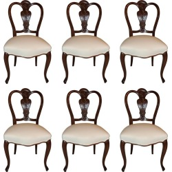 Wonderful Shield Back Set Of Six French Leg Carved Back Side Upholstered Chairs