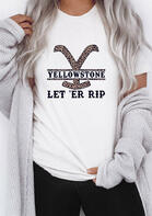 Yellowstone Let 'Er Rip Leopard T-Shirt Tee - White