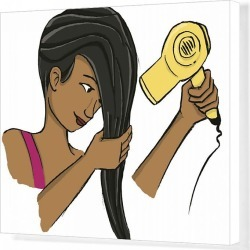 Canvas Print. Girl wringing her long dark hair while holding blow dryer in the other hand